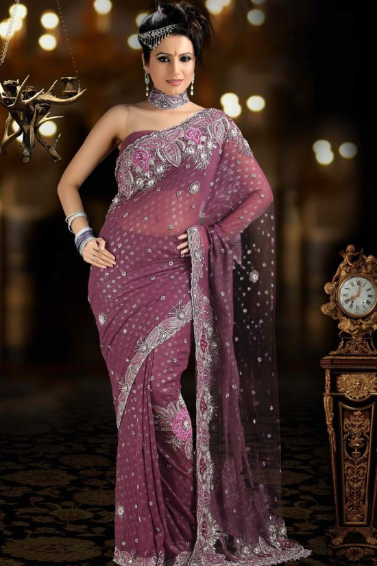 Net Saree in Dark Thulian Pink Color 2010