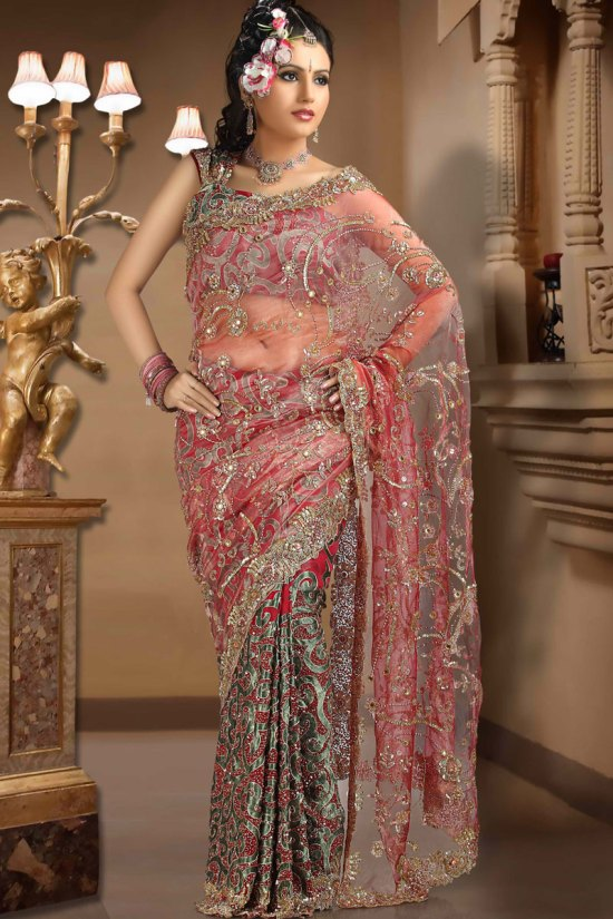 Latest Pink Net Saree with All over Embroidery Work