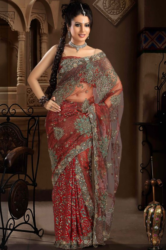 Net Wedding Saree in Pink Color with Heavy Embroidery Work