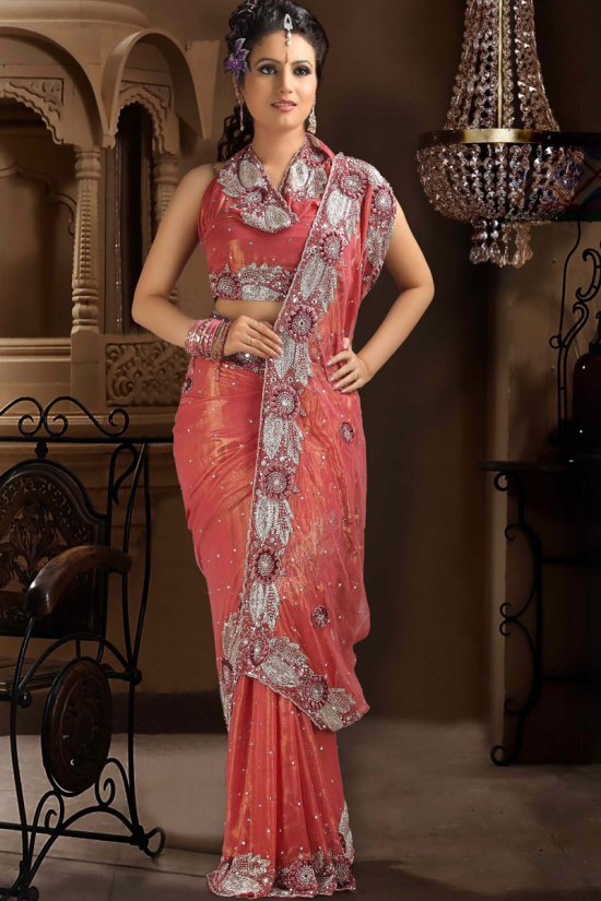 Coral Pink Net Saree Collection 2010