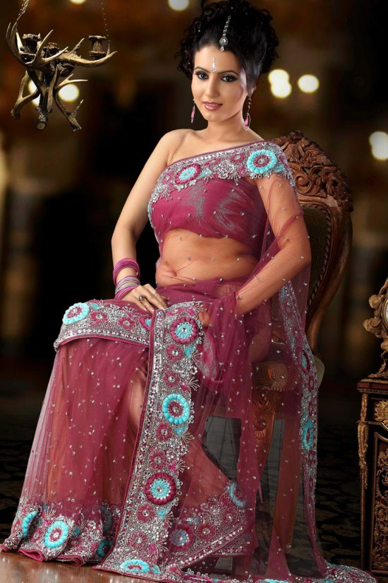 Wedding Saree in Net Fabric and In Dark Pink Color