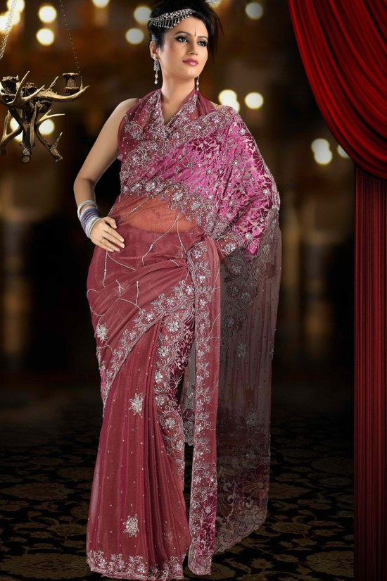 Net Party Saree in Dark Chestnut Color
