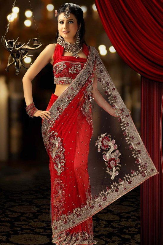Red Net Saree for Wedding Wear and Party Wear