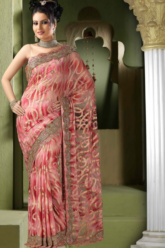 Pink Color Net Saree for Wedding Wear 2010