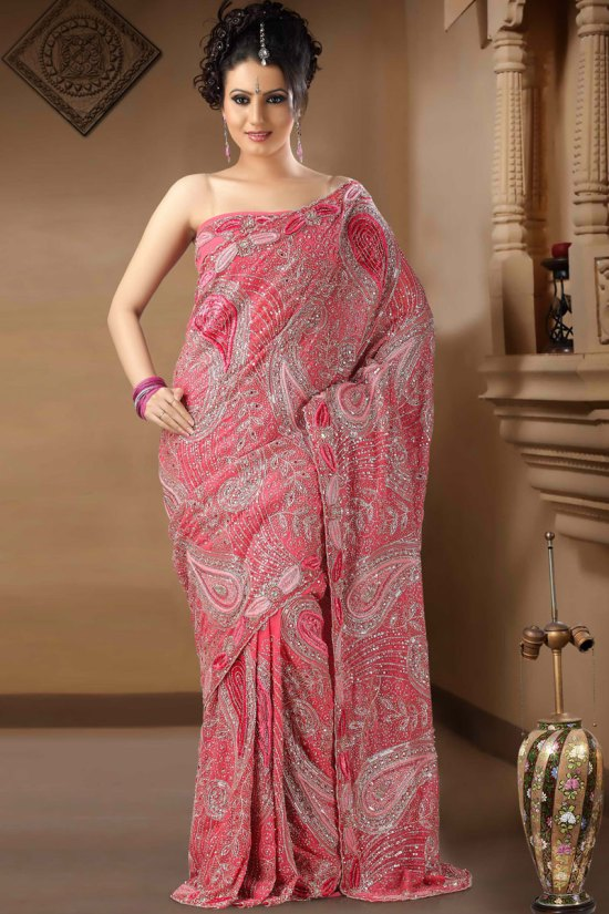 Brink Pink Color Net Saree for Party Wear