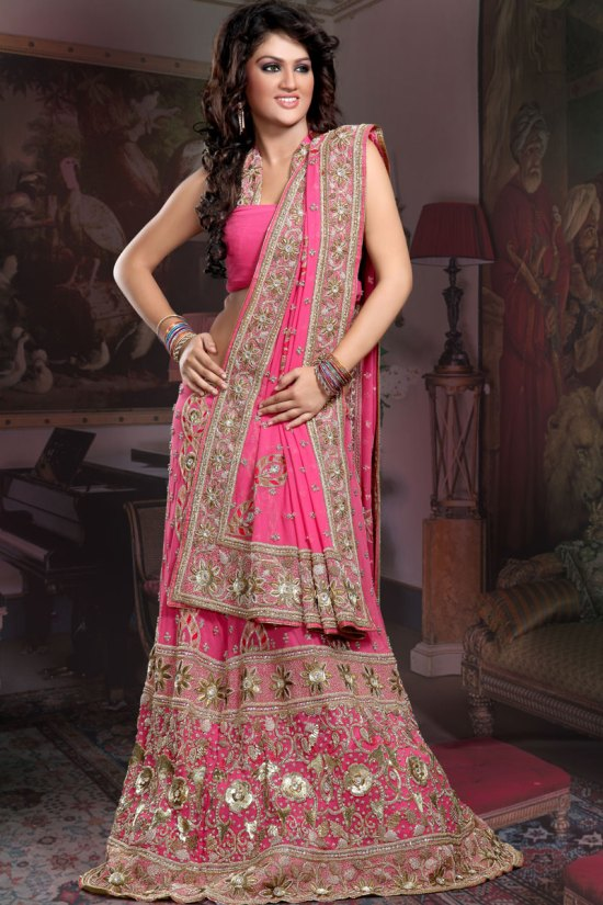Hot Pink Ghagra Choli with heavy embroidery work