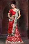 Bright Red Latest Lehenga Choli in Crepe Fabric