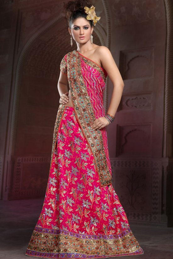 Ghagra Choli in Magenta color with all over embroidery work