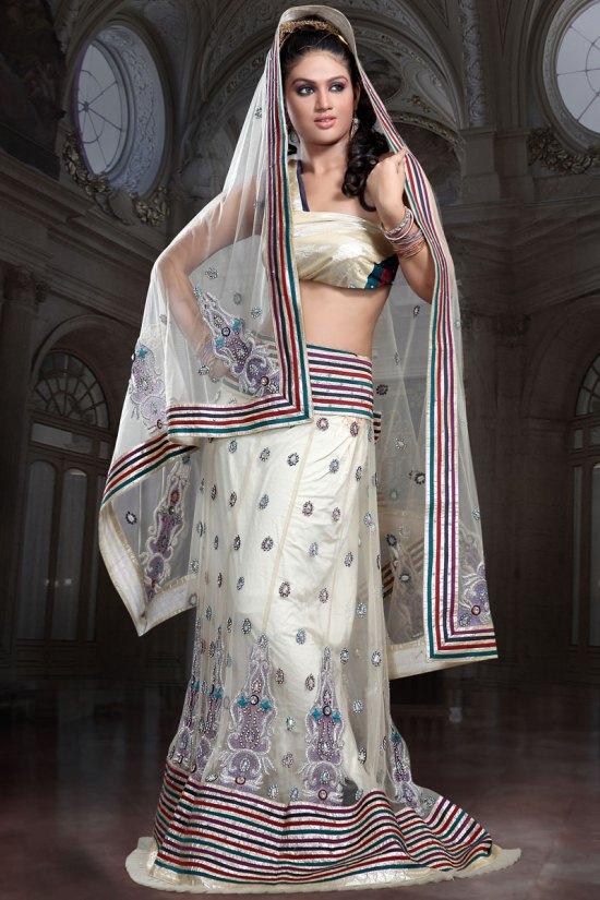 Wedding Lehenga Choli in Cream White Color
