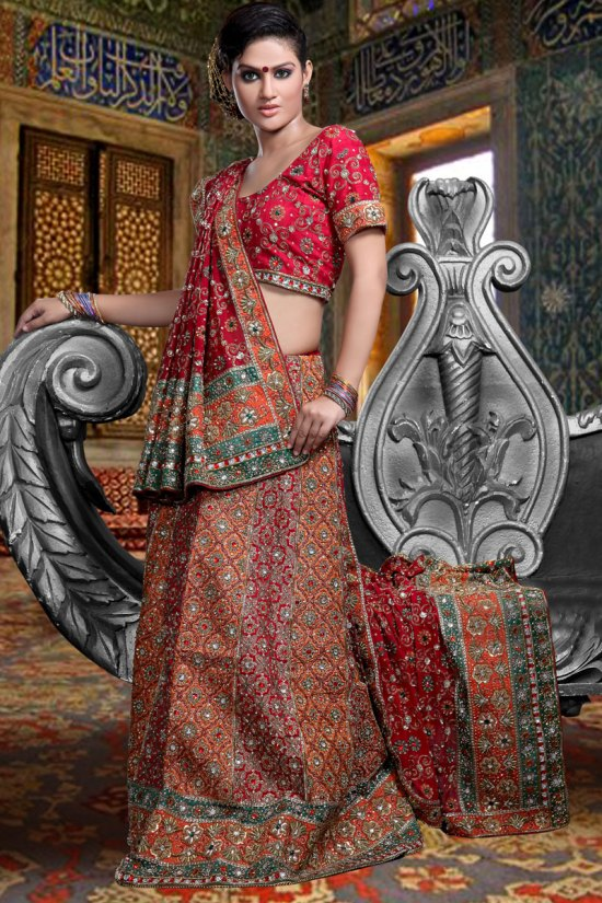Red and Orange Sharara Choli for wedding and party wear
