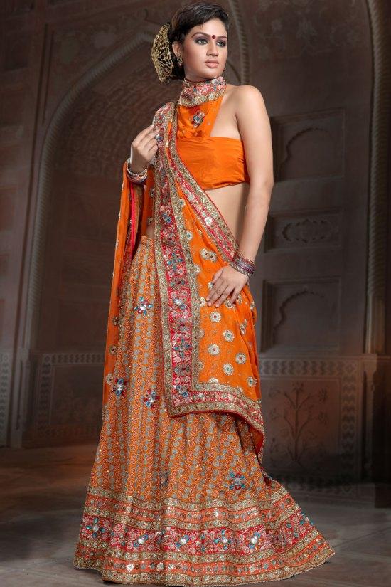 Sharara Choli in Bright Orange Color for Wedding Wear