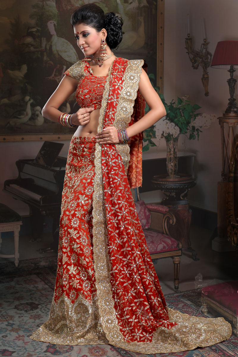 Georgette Ghagra Choli and Sharara choli in Red Color