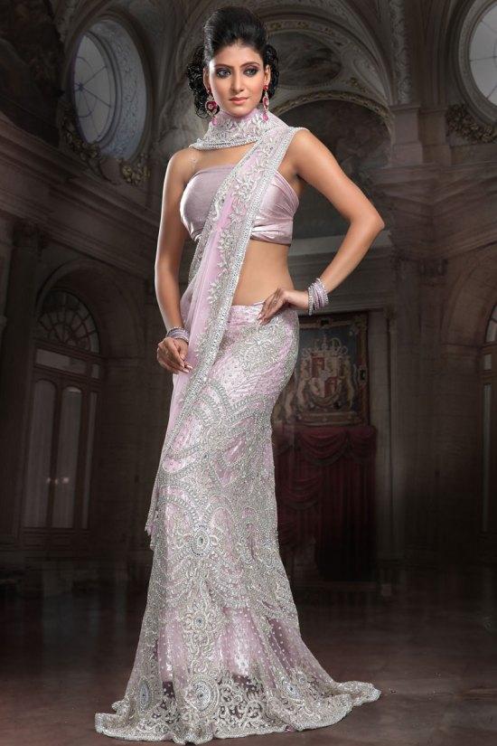 Mermaid Style Lehenga Choli - Fishtail Ghagra in Light pink Color