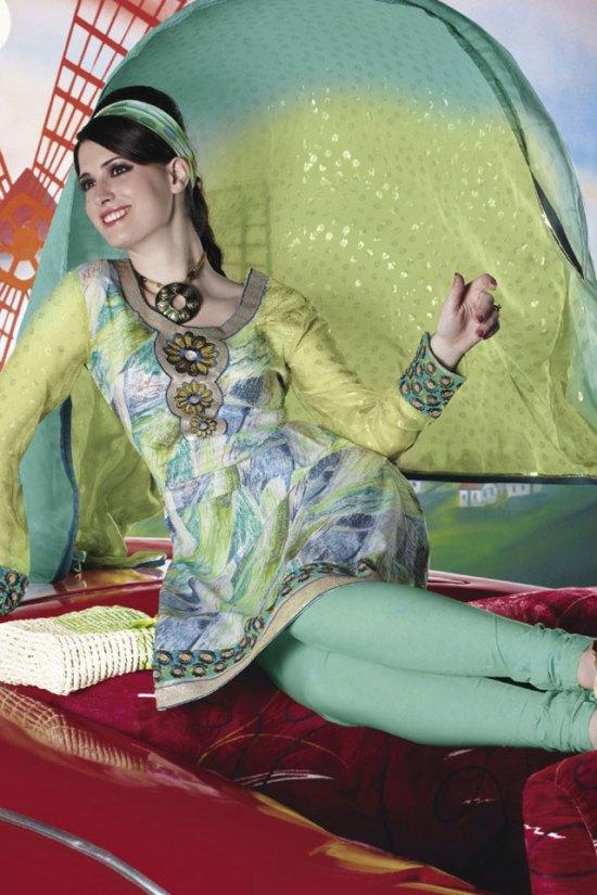 Latest Trendy Churidar Kameez in Cambridge Color