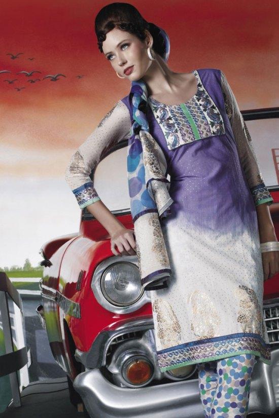 White and Blue Churidar Salwar Kameez 2010