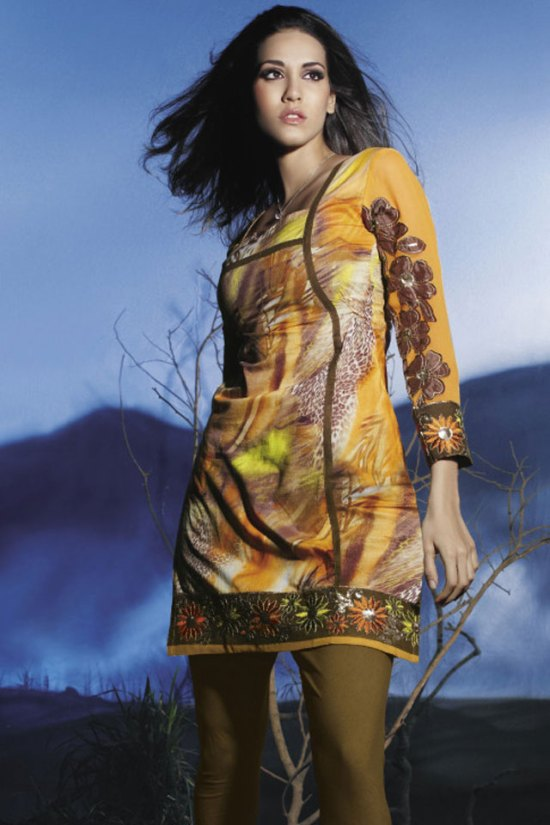 Saffron Yellow Trendy Churidar Kameez