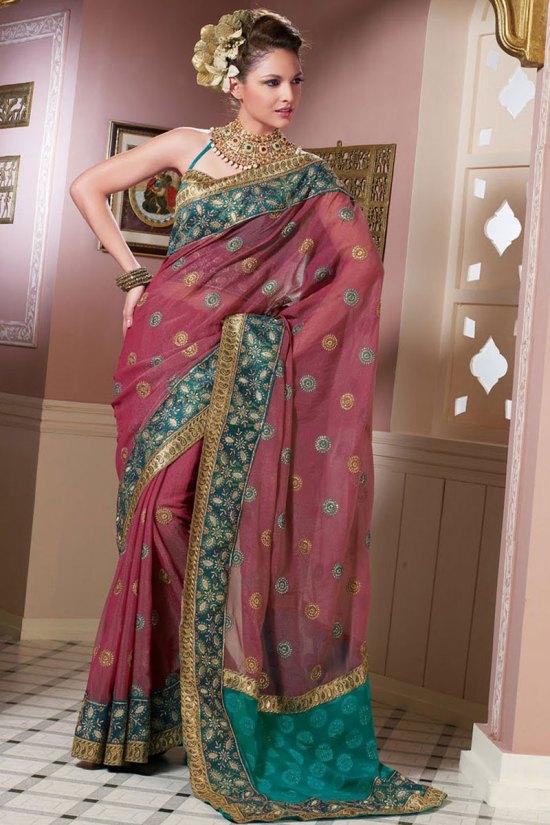 Latest Deep Pink Saree Designs