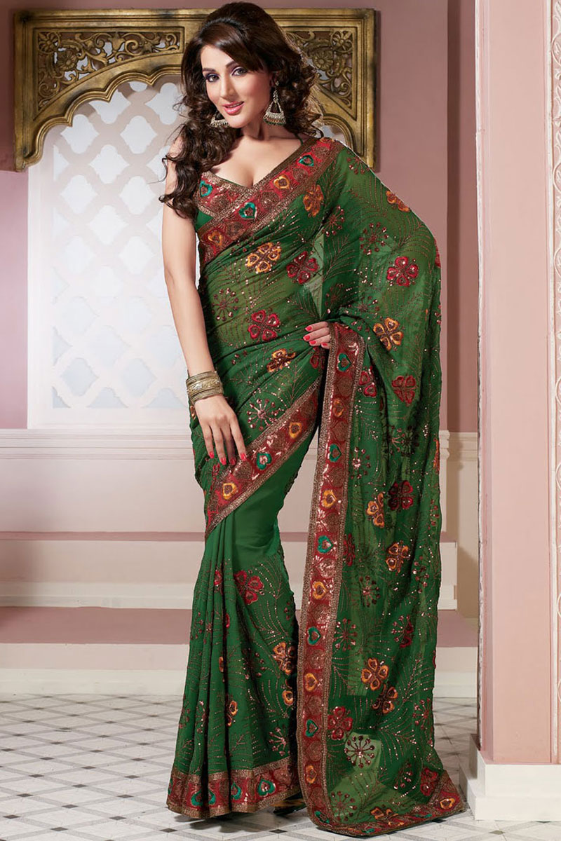 Latest Green Embroidered Saree Designs U2013 Designer Indian Outfits U2013 Traditional Indian Clothing