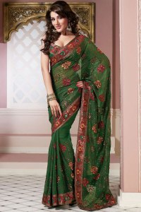 Latest Green Embroidered Saree Designs