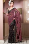Puce Pink and Black Saree Design