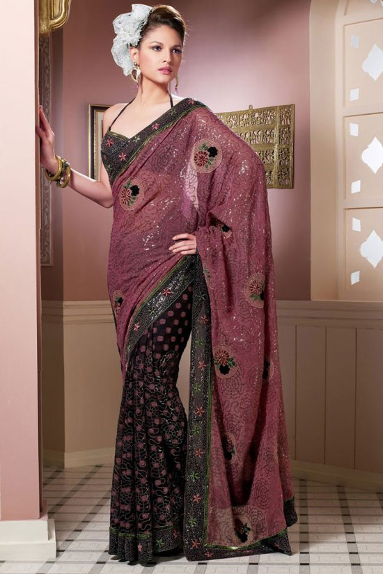 Puce Pink and Black Saree Design