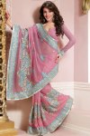 Pink Embroidered Saree Designs