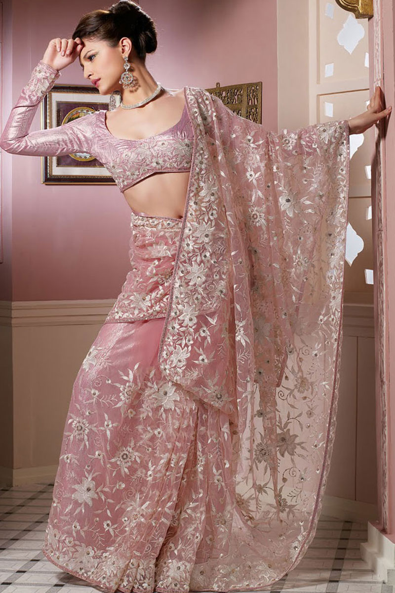 Pink Net Saree: Latest Saree Designs In Pink Net With Embroidery Work