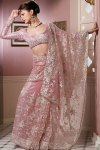 Latest Saree Designs in Pink Net with Embroidery Work