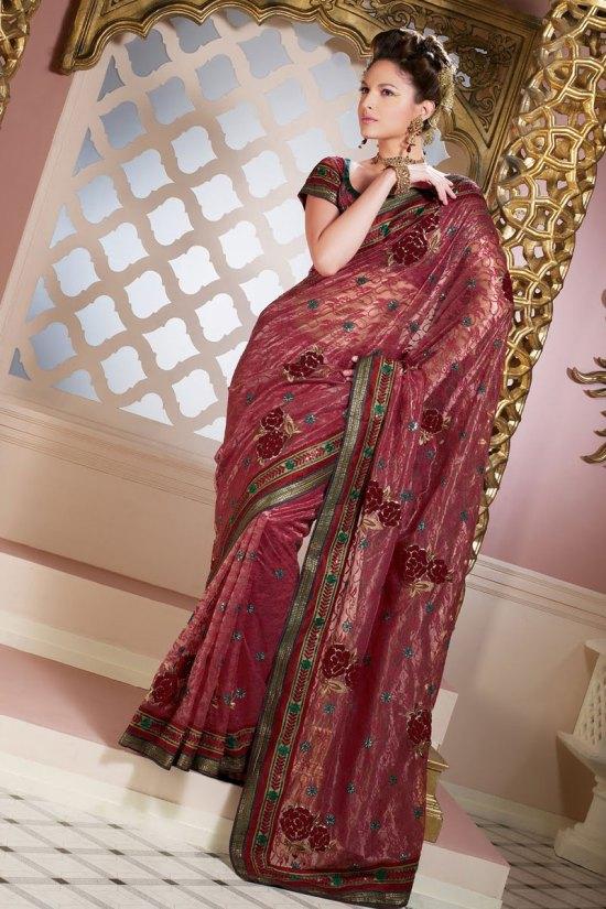 Chestnut Red Saree Designs