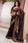 Latest Black Net Embroidered Party Saree