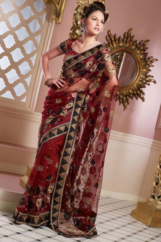Latest Cerise Net Saree Designs