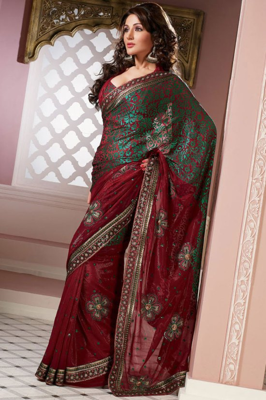 Maroon Embroidered Latest Party Saree Designs