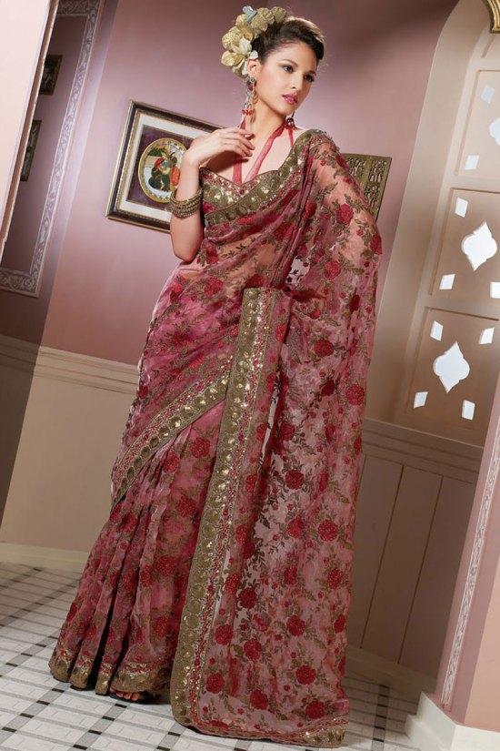 Hot Pink Latest Designer Sarees