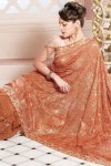 Salmon Orange Latest Designer Sarees