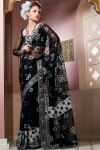 Net Black Hand Embroidered Saree