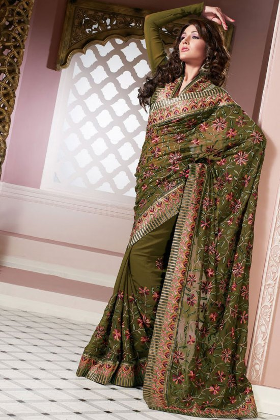 Newly Arrived Shimmer Georgette Saree