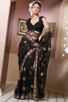 Black Saree with Embroidery Work
