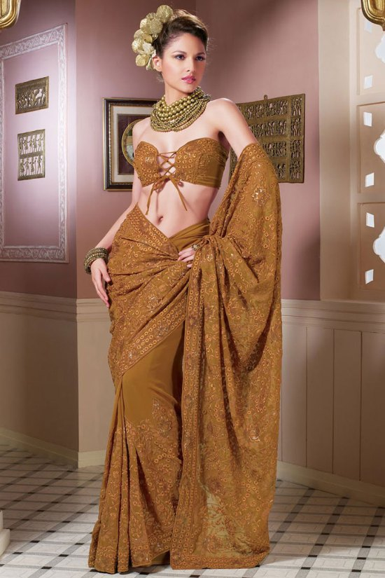 Latest Light Brown Embroidered Party Saree