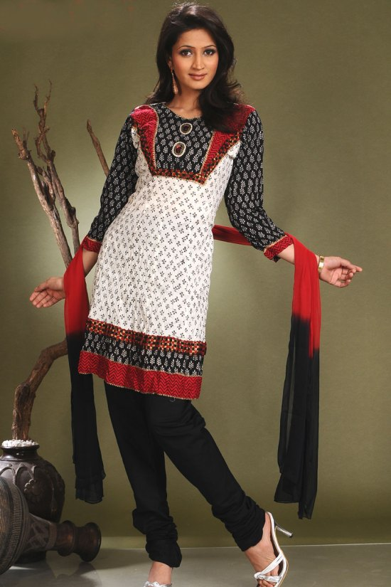 Latest Fashion Shalwar Kameez in White and Black Color