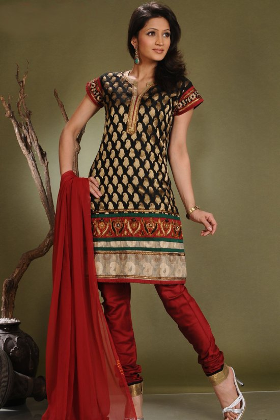 Churidar Kameez Fashions in Red and Black with Benarasi Fabric