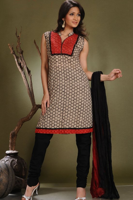 Ready Made Black Churidar with Red Stripped Salwar Kameez 2010