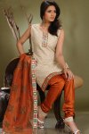 Latesr Ready made Churidar Shalwar Kameez in Cream and Red Color