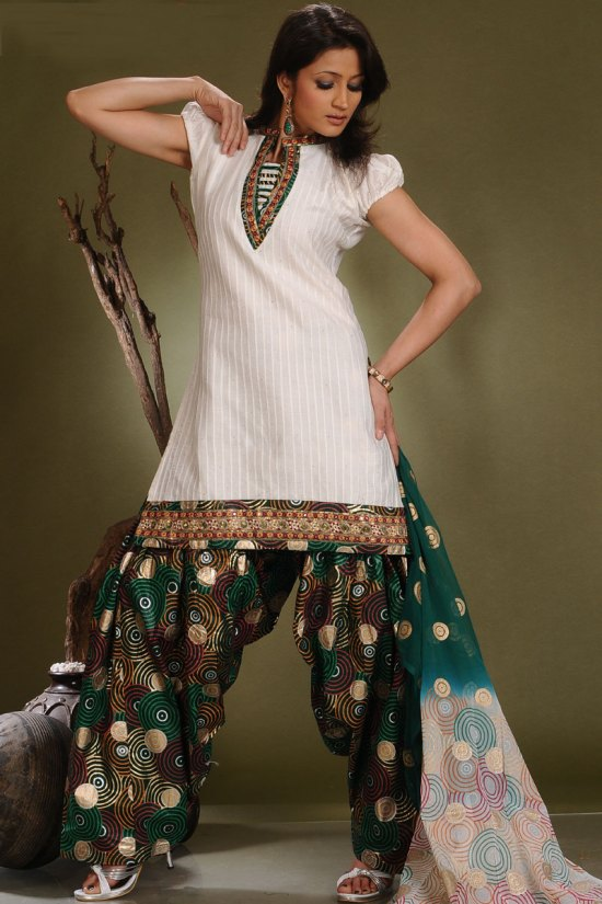Ready Made Patiala Salwar Kameez in White and Green Color