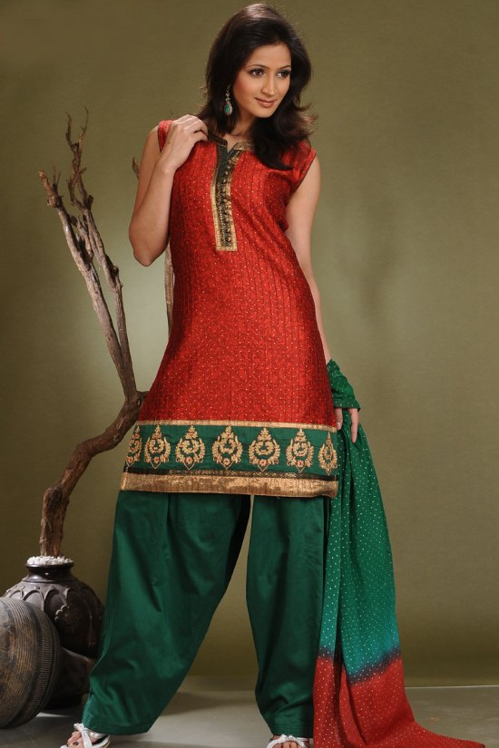 Sleeveless Ready Made Shalwar Suits in Red and Green Color