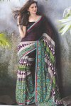 faux Georgette Designer Printed Saree in Purple and Gray Color