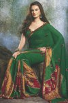 Party Wear Designer Saree in Fern Green Color