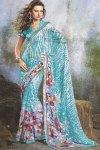 Blue Floral Printed Designer Party Wear Saree