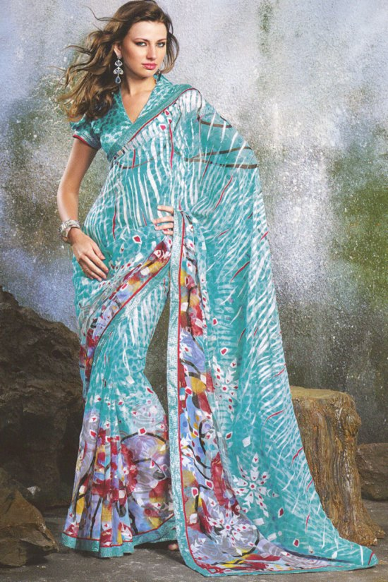 Blue Floral Printed Designer Party Wear Saree