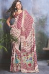 Pink and White Party Wear Designer Saree 2010