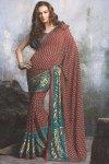 Marron Designer Saree with Patch work in Border